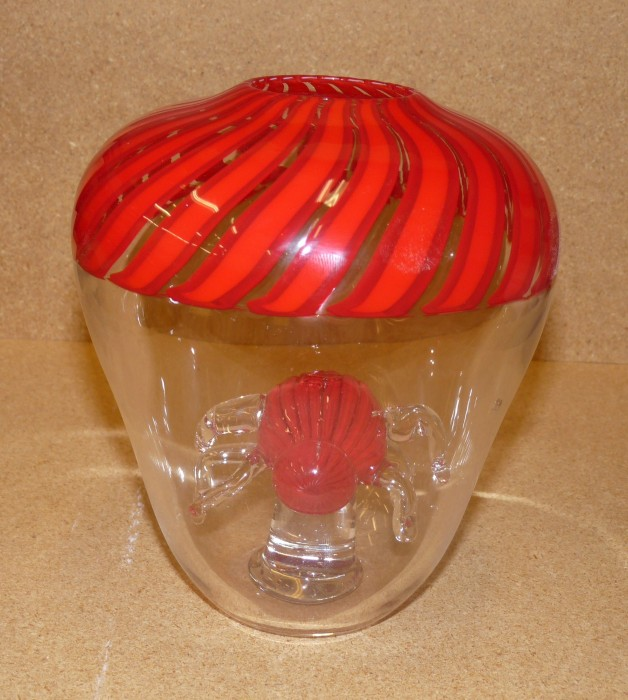 Glassblower.info - Cased Cane Incalmo Vessel with Matching Cased Cane Spider on Glass Pedestal Inside - Front View