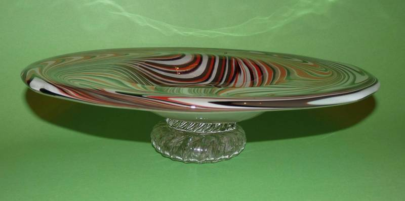 Tony Patti Footed Glass Bowl make with Blacksmith David Woodward raking tool made from railroad spike - front view