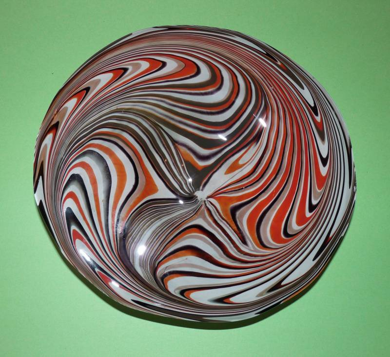 Tony Patti Footed Glass Bowl make with Blacksmith David Woodward raking tool made from railroad spike - top view