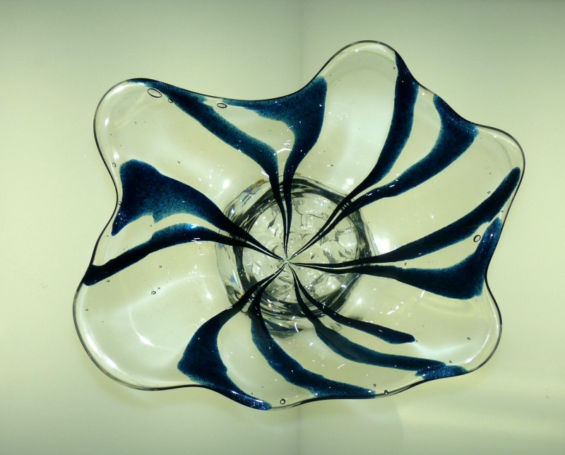 "Glassblower.Info - Combo Glassblowing Mold - ""V is for Victory"" - Blue Aventurine to Center Point - Top"