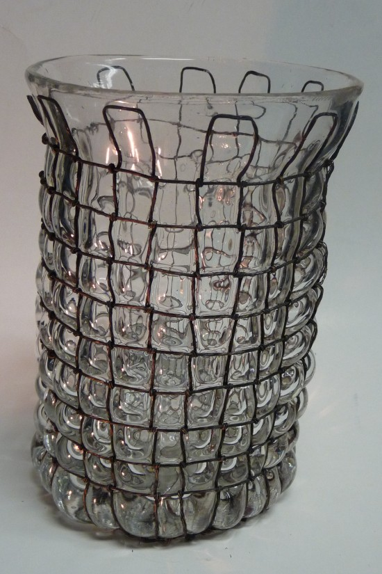 Glassblower.info - Tony Patti - Glass blown inside Hand-Knotted Copper Wire Cage