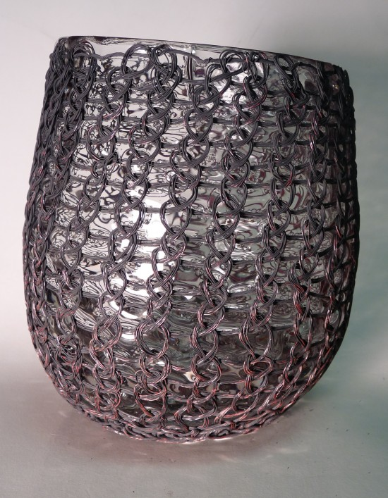 Glassblower.info - Tony Patti - Glass blown inside Paula Patti Knitted Copper Wire Cage