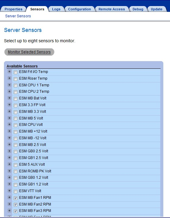 Dell ERA/DRAC 2650 Web Page - Sensors
