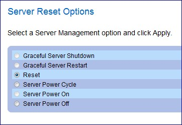Dell DRAC/ERA 2650 Web Page - Server Reset Options