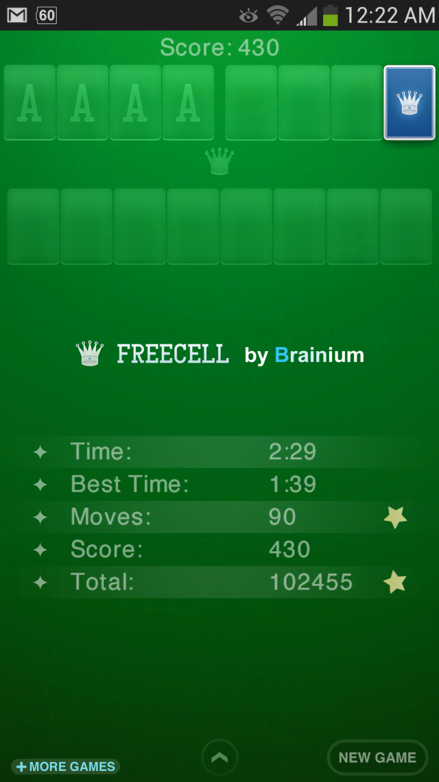Glassblower.info - FreeCell print-screen from Android
