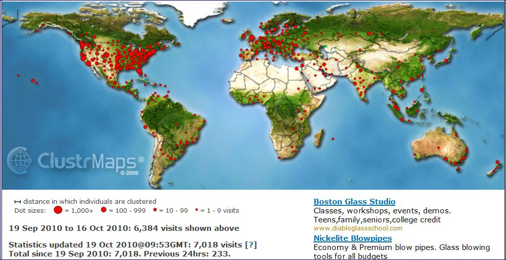 ClustrMaps image for www.glassblower.info as of Oct 16 2010
