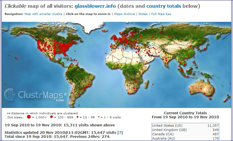 ClustrMaps image for www.glassblower.info for Sept 19 2010 - Nov 19 2010 (two months)