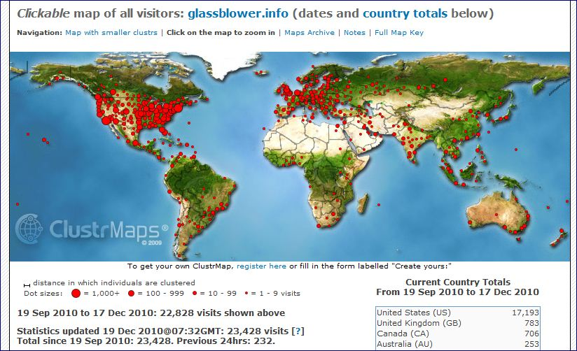 ClustrMaps image for www.glassblower.info for September 19 2010 - December 19 2010 (three months)