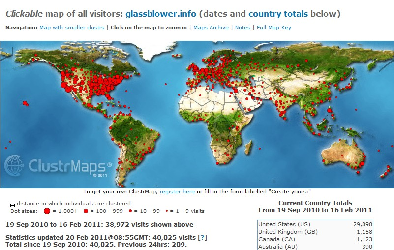 ClustrMaps image for www.glassblower.info for September 19 2010 - February 20 2011 (five months)