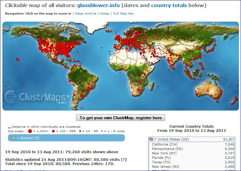 ClustrMaps image for www.glassblower.info for Sept 19 2010 - August 21 2011