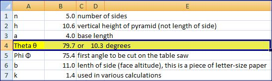 print-screen of Excel spreadsheet to create n-sided pyramids (for wood, metal, or paper)