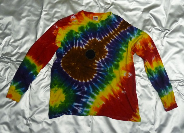 Spiral-Dyes handmade guitar rainbow long-sleeve tie-dye t-shirt